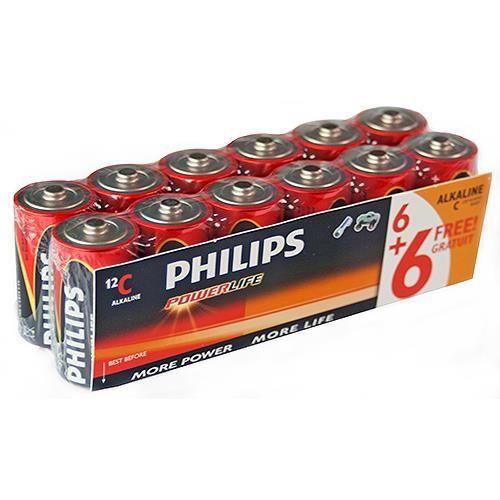 Baby (C)-Batterien, 12er-Pack Philips PowerLife