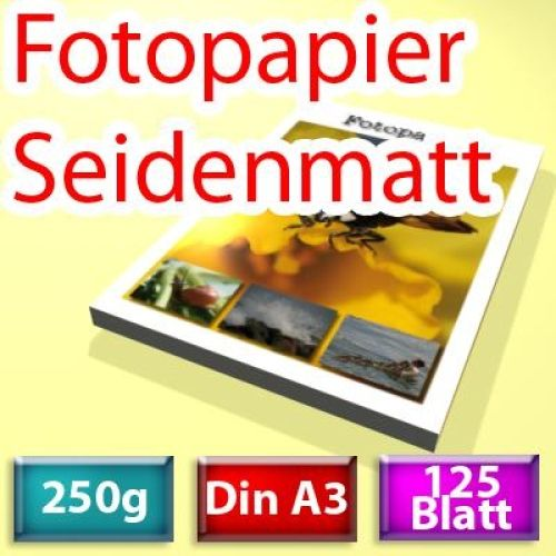 250g seidenmatt Papier Din A3, 125 Blatt