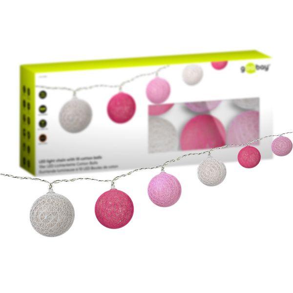 10er LED Lichterkette Cotton Balls, Weiß, Rosa und Pink - batteriebetrieben