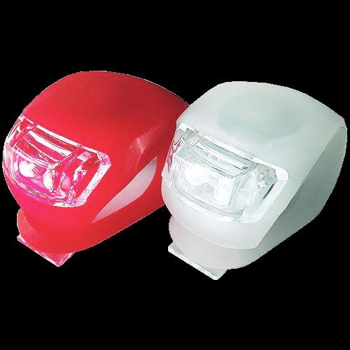 Fahrradlampen-SET, LED mit flex.Silikonhülle, inkl Batterien