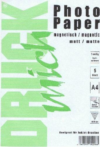 A4 magnetisches Papier, photo-matt, 5 Blatt