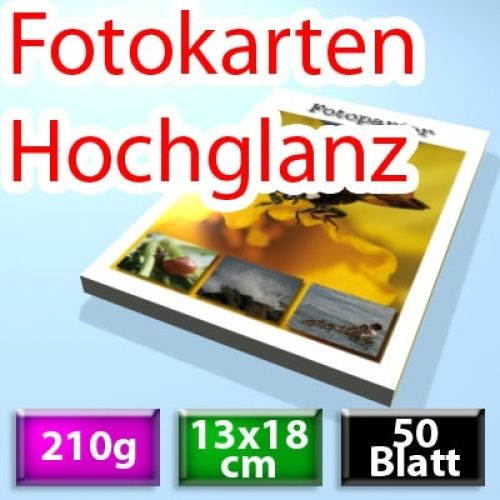 210g Hochglanz Foto-Karten 13*18cm, 50 Blatt