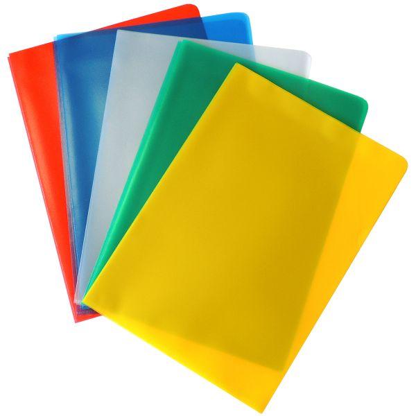 15 Stück A4 Aktenhüllen mit Greifausschnitt, transparent-farbig