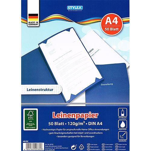 Dokumentenpapier Leinenstruktur gerippt, A4, 50 Blatt, 120 g
