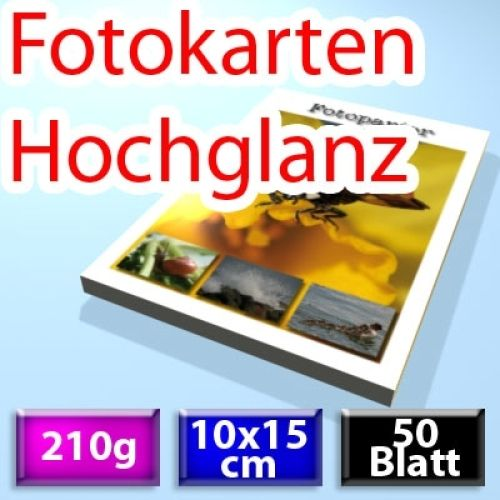 210g Foto-Karten 10*15cm, Glossy, 50 Blatt
