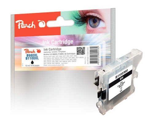 Peach XL-Tintenpatrone für Brother, Typ BK980/1100BK, black