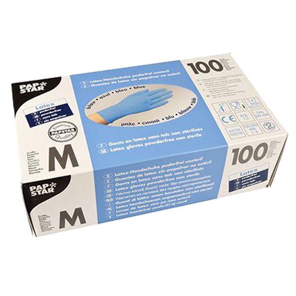 100 St. Latex-Handschuhe Einmalhandschuhe blau Größe M