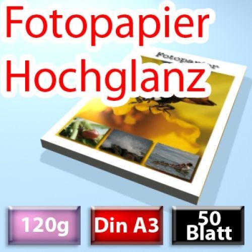 120g High-Glossy Foto-Papier Din A3, 50 Blatt