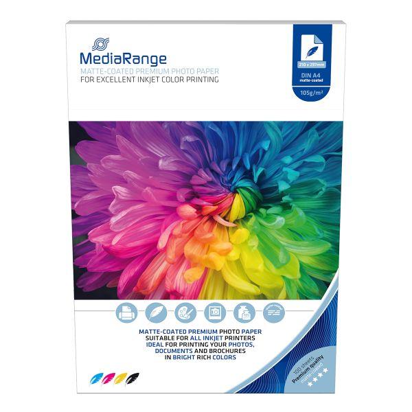 105g Foto-Papier, Inkjet matt, DIN A4, 100 Blatt, MediaRange