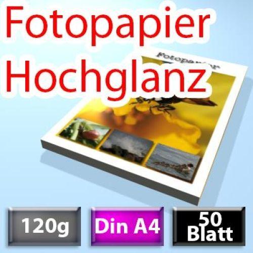 120g High-Glossy Foto-Papier Din A4, 50 Blatt