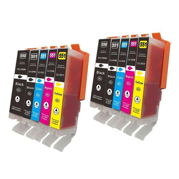 * 10 XL-Patronen Sparset: alternativ zu PGI550/CLI-551 CS550