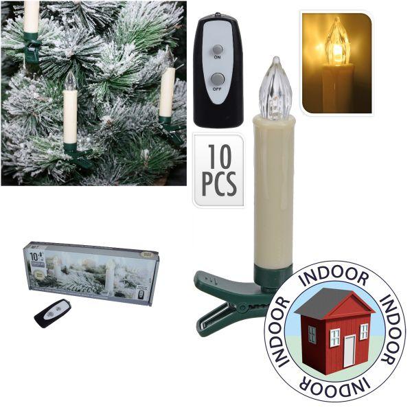 10er Set kabellose LED Christbaumkerzen inkl. Fernbedienung