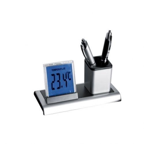 Schreibtischköcher mit Uhr, Wecker, Datum 27cm